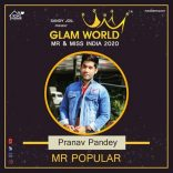 Pranav Pandey Winner Of Prestigious Glam World Mr & Miss India as Mr India 2020